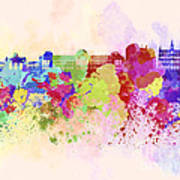 Brussels Skyline In Watercolor Background Poster