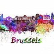 Brussels Skyline In Watercolor Poster
