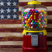 Bubblegum Machine And American Flag Poster
