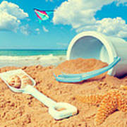 Bucket And Spade On Beach Poster by Amanda Elwell