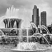 Buckingham Fountain - 1 Bw Poster