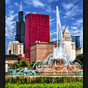 Buckingham Fountain Sears Tower Poster Poster