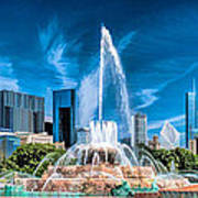 Buckingham Fountain Skyline Panorama Poster