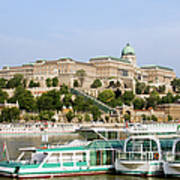 Buda Castle And Boats On Danube River Poster