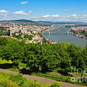 Budapest Panoramic View From The Gellert Hill With Danube River Poster