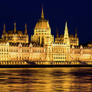 Budapest Parliament At Night Poster