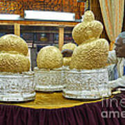 Buddha Figures With Thick Layer Of Gold Leaf In Phaung Daw U Pagoda Myanmar Poster