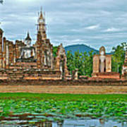 Buddhas At Wat Mahathat In 13th Century Sukhothai Historical Park-thailand Poster