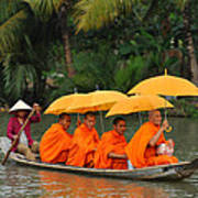 Buddhist Monks In Mekong River Poster by Dung Ma