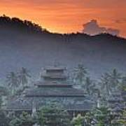 Buddhist Temple At Sunset Poster