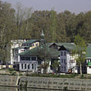 Buildings On The Shore Of Section Of Dal Lake In Srinagar Poster