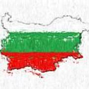 Bulgaria Painted Flag Map Poster