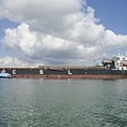 Bulk Cargo Ship With Tug Escort Poster