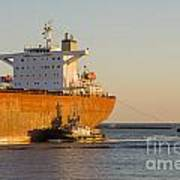 Bulk Carrier Being Guided By Tugs Close Up On Bridge Poster by Colin and Linda McKie