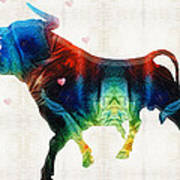 Bull Art - Love A Bull 2 - By Sharon Cummings Poster