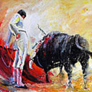 Bull In Yellow Light Poster
