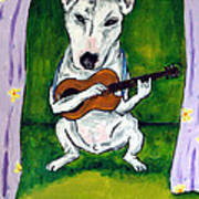 Bull Terrier Playing Guitar Poster by Jay  Schmetz