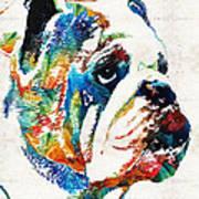 Bulldog Pop Art - How Bout A Kiss - By Sharon Cummings Poster
