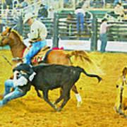 Bulldoggin Cowboys Poster