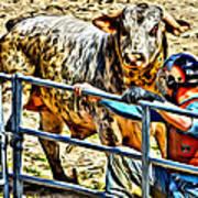 Bullrider And His Bull Poster