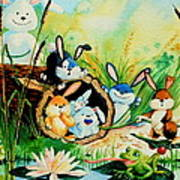 Bunnies Log And Frog Poster