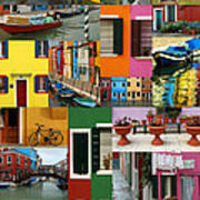 Burano Italy Collage Poster
