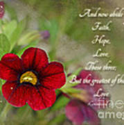 Burgundy Calibrochoa Greeting Card With Verse Poster