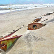 Buried Treasure - Shipwreck On The Outer Banks I Poster by Dan Carmichael