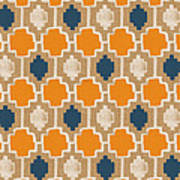 Burlap Blue And Orange Design Poster