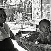 Burmese Grandmother And Grandchild Poster