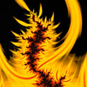 Burning Fractal Fire Warm Orange Flames Black Background Poster