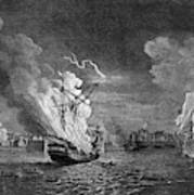 Burning Of The 'prudent' At  Louisbourg Poster