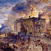 Burning Temple Of The Winds, 1856 Poster