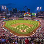 Busch Stadium St. Louis Cardinals Night Game Poster
