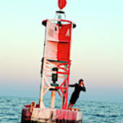 Business Woman On A Buoy Poster