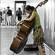 Busking Parisian Cellist Poster