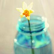 Buttercup Photography - Flower In A Mason Jar - Daffodil Photography - Aqua Blue Yellow Wall Art  Poster