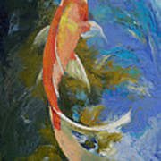 Butterfly Koi Painting Poster