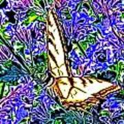 Butterfly With Purple Flowers 2 Poster