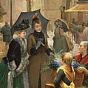 Buying Flowers, 19th Century Poster