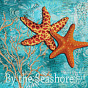 By The Sea Shore Original Coastal Painting Colorful Starfish Art By Megan Duncanson Poster by Megan Duncanson