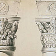Byzantine Capitals From Columns In The Nave Of The Church Of St Demetrius In Thessalonica Poster