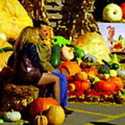 Cabbage Patch Kids - Giant Pumpkins - Marche Atwater Montreal Market Scene Art Carole Spandau Poster