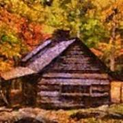 Cabin In Autumn Poster