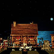 Log Cabin Near The Ocean At Midnight Poster by Leslie Crotty