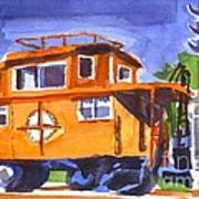 Caboose With Silver Signal Poster