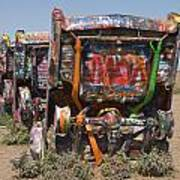 Cadillac Ranch Along Route 66 Poster