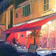 Cafe Scene Cannes France Poster