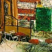 Cafe Terrace With Posters Poster by Pg Reproductions