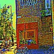 Cafe Window Corner Rue Fabre Near The Bicycle Stand Art Of Montreal Summer Street Scene  Poster